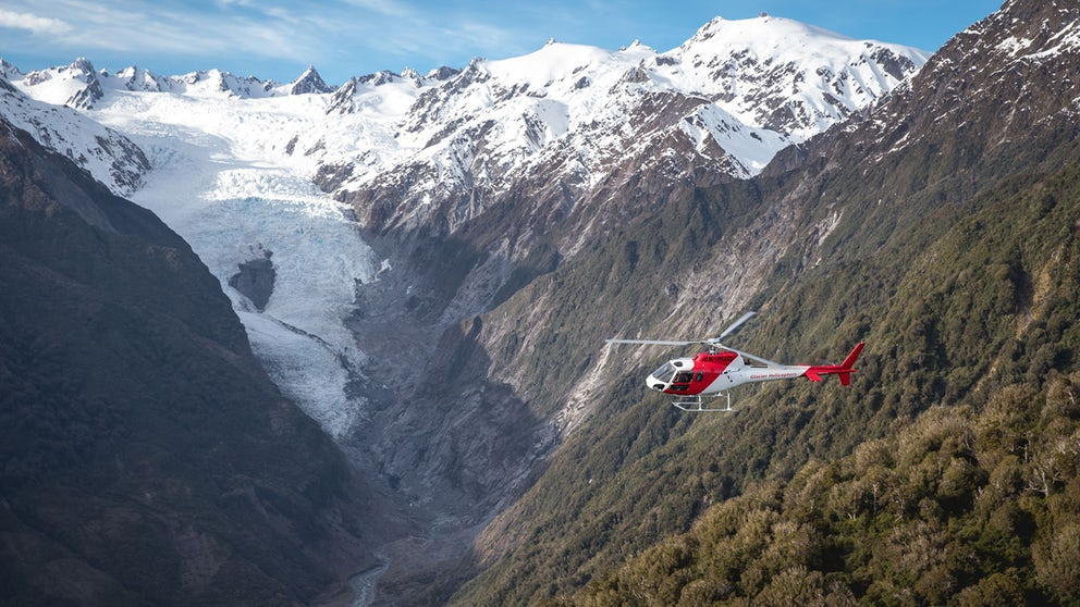 Franz Josef Glacier Carousel Helicopter Flying Through Glacial Valley