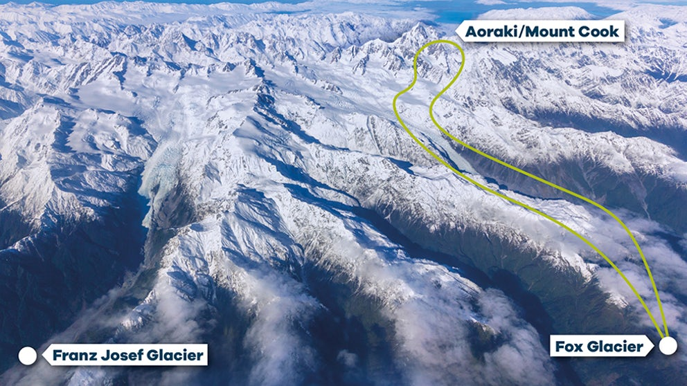 Flight Path For Fox Glacier To Mount Cook Helicopter Tour