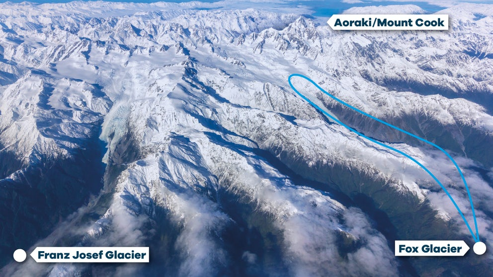 Flight Path For Fox Glacier Snow Landing Helicopter Tour