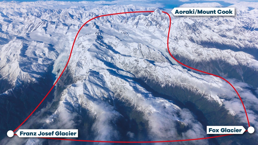 Flight Path For Franz Josef & Mount Cook Spectacular Helicopter Tour